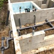 給水管・排水管の立上げ作業です
